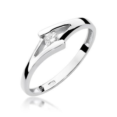 Białe złoto pierścionek z brylantem dedykacja gratis