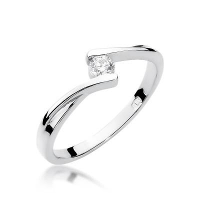 Zaręczynowy pierścionek z brylantem - złoto białe