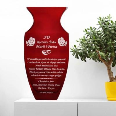Grawerowany wazon-50 rocznica