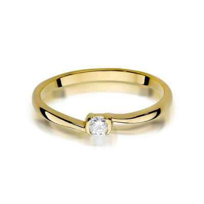 Złoty pierścionek z brylantem. Prezent na urodziny