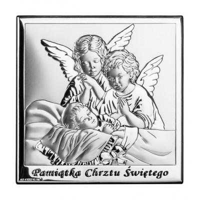 Srebrny obrazek-Pamiątka Chrztu Świętego