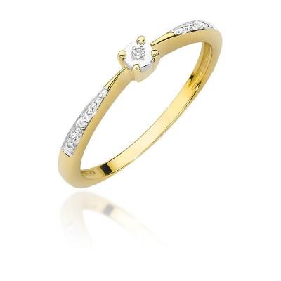 Złoty pierścionek zaręczynowy. Brylanty