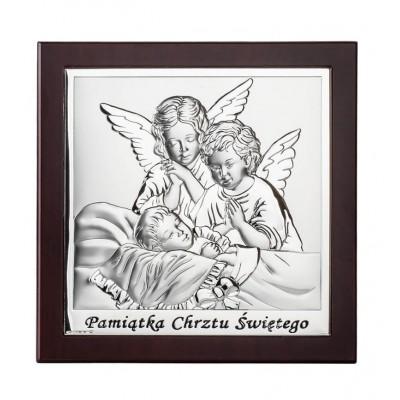 Obrazek z Aniołkami w brązowej ramce