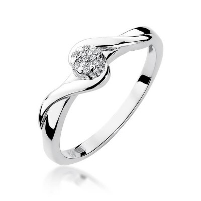 Pierścionek zaręczynowy z brylantami złoto białe