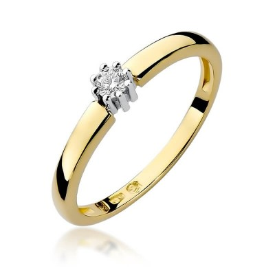 Złoty pierścionek zaręczynowy z brylantem - piękny podarunek