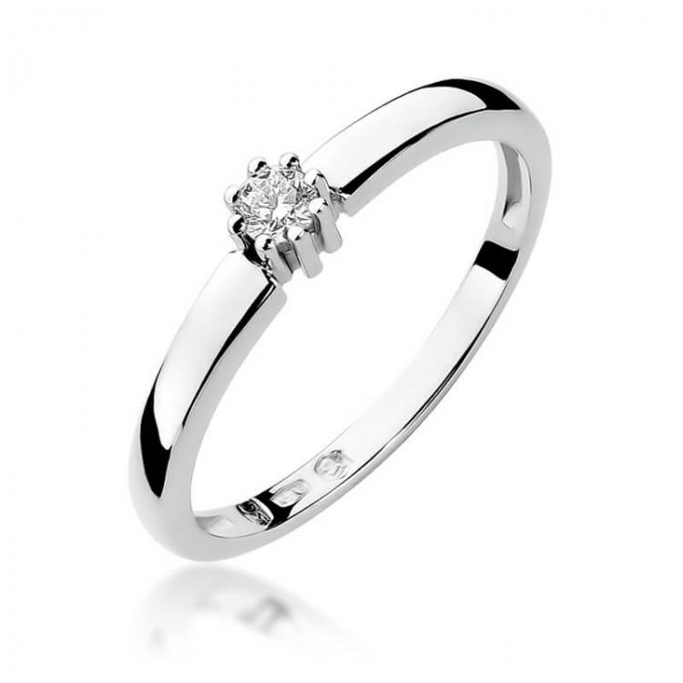 Pierścionek zaręczynowy z brylantem złoto białe