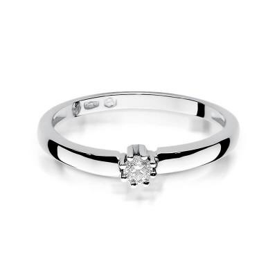 Pierścionek zaręczynowy z brylantem złoto białe 585