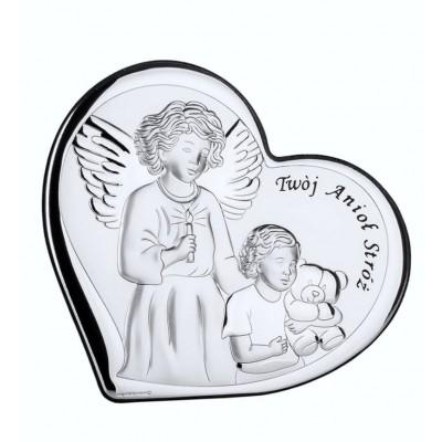 Obrazek srebrny czuwający Anioł Stróż