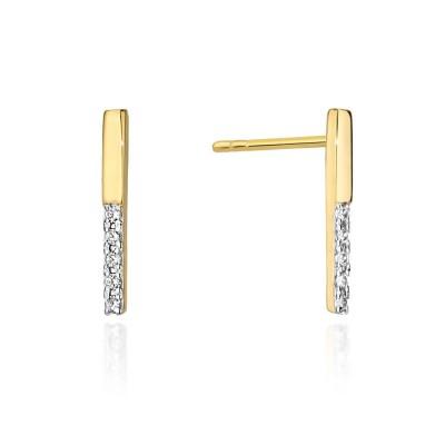 Skromne kolczyki złote z brylantami