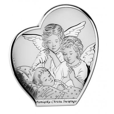 Pamiątka Chrztu - Obrazek z Aniołkami