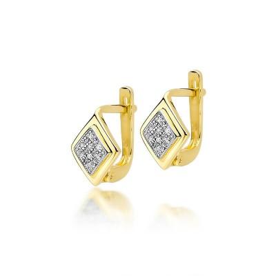 Kolczyki złote z brylantami w romb