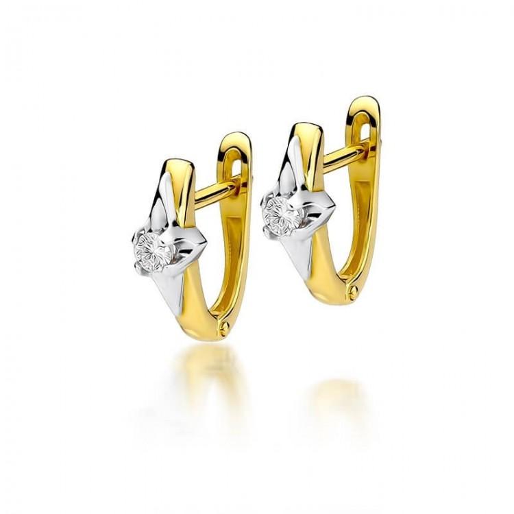 Biżuteria złota kolczyki brylantami gwiazdka