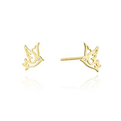 Kolczyki złote z brylantami jaskółki