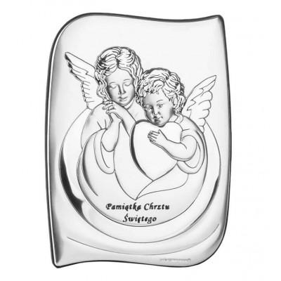 Prezent na Chrzest - Obrazek srebrny z uroczymi Aniołkami