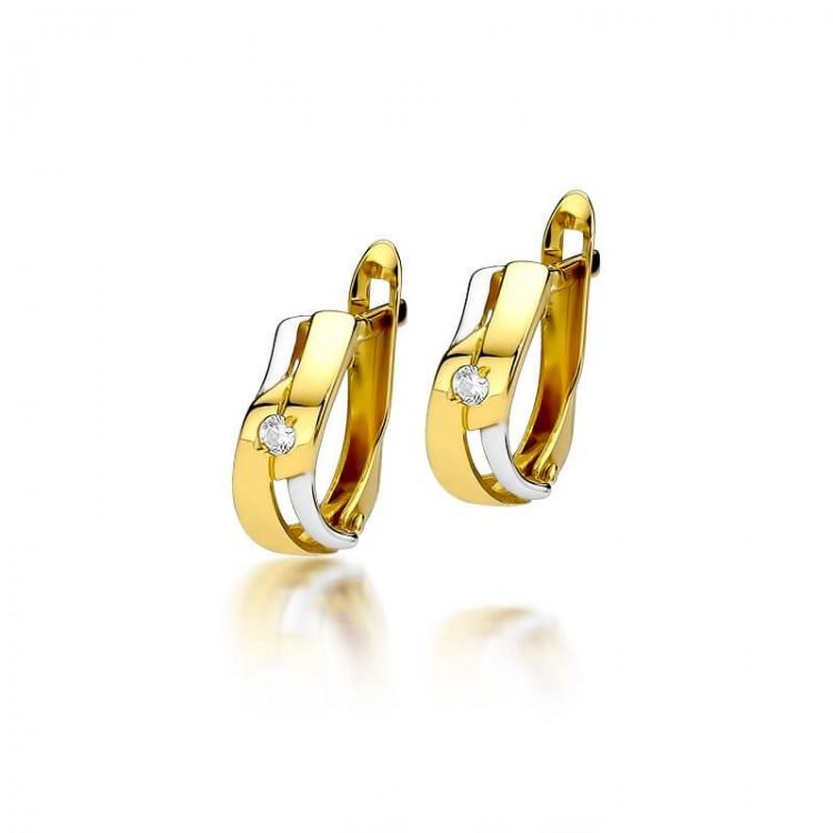 Prezent kolczyki złote diamenty