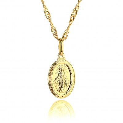 Medalik złoty Matka Boska Cudowna
