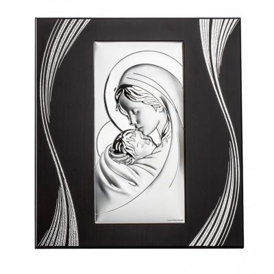 Obrazek Srebrny Matka Boska z małym Jezuskiem