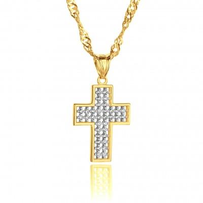 Złoty krzyżyk z cyrkoniami