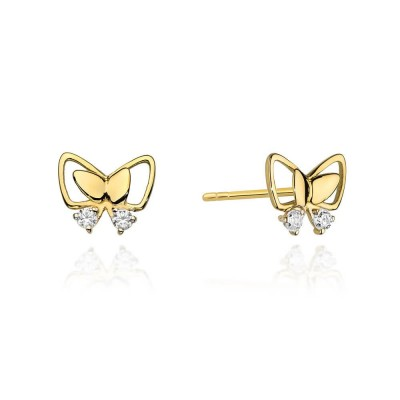 Kolczyki złote z brylantami motylek