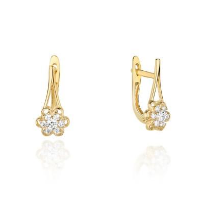 Biżuteria złota kolczyki brylantami kwiatek