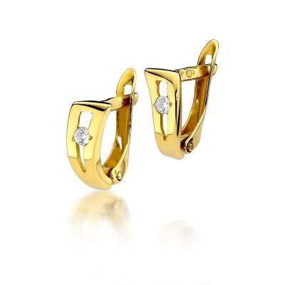 Złote kolczyki z brylantami 0,08ct