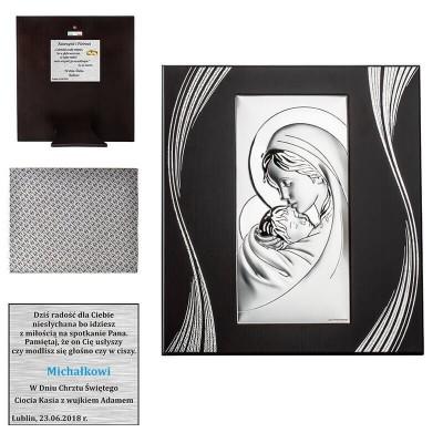 Obrazek Srebrny Matka Boska z małym Jezuskiem - Twoja Dedykacja