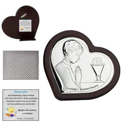 obrazek srebrny w ramce na komunię - pamiątka z dedykacją