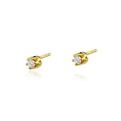Złote kolczyki z diamentami 0,16ct