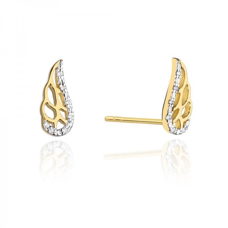 Złote kolczyki diamenty skrzydełka wkręty