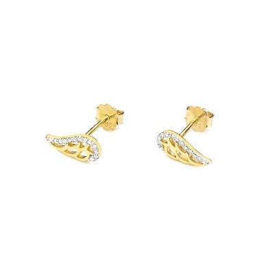 Złote kolczyki diamenty skrzydełka sztyft