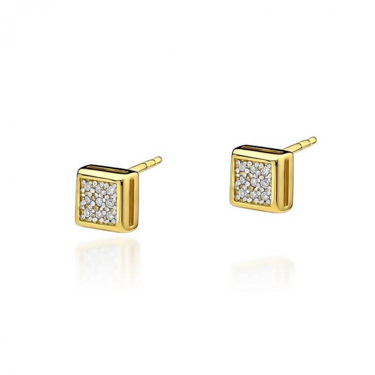 Kolczyki złote z diamentami kwadrat