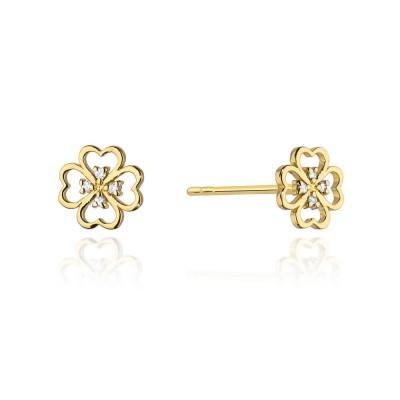 Złote kolczyki kwiat diamentu