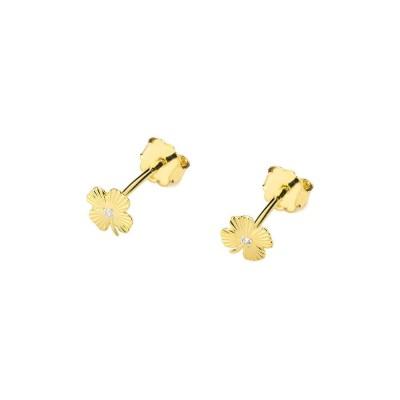 Kolczyki z diamentami - złote koniczynki