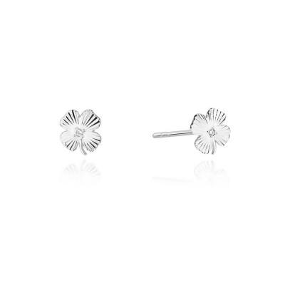 Kolczyki z diamentami - koniczynki