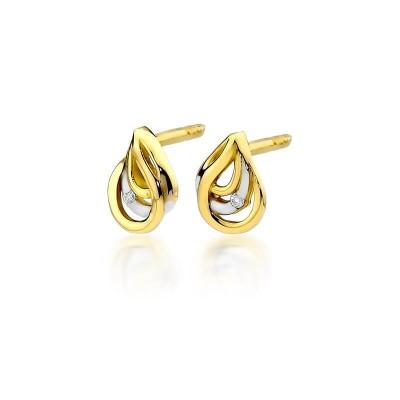 Złote kolczyki z diamentami wkręty