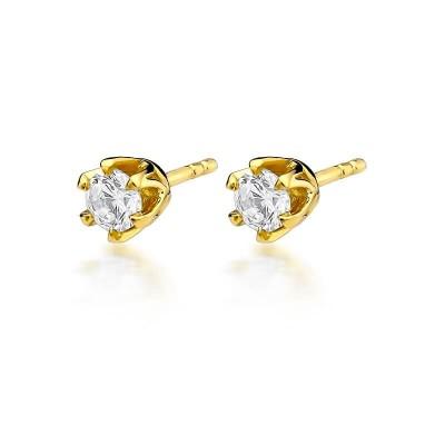 Kolczyki złote diamenty wkręty