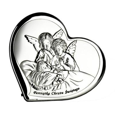 Obrazek srebrny Czuwające Aniołki