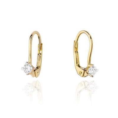 Kolczyki złote z diamentami oraz dedykacją