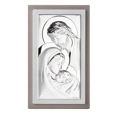 Obrazek srebrny Święta Rodzina w Ramce