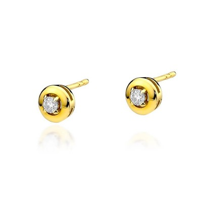 Złote kolczyki z diamentami upominek - wkręty