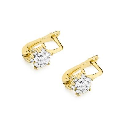 Biżuteria złota kolczyki z brylantami na angielskim zapięciu