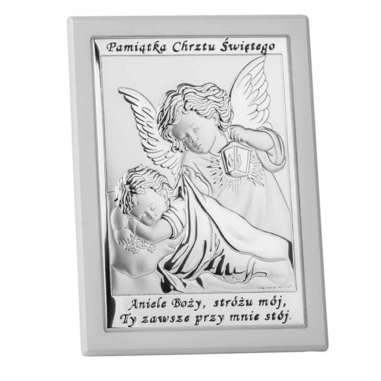 Prezent na Chrzciny - obrazek srebrny z Aniołkiem