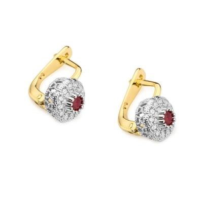 Kolczyki złote z brylantami i rubinami prezent
