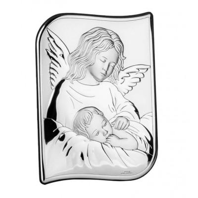 Srebrny obrazek z Aniołem Stróżem i dzieciątkiem