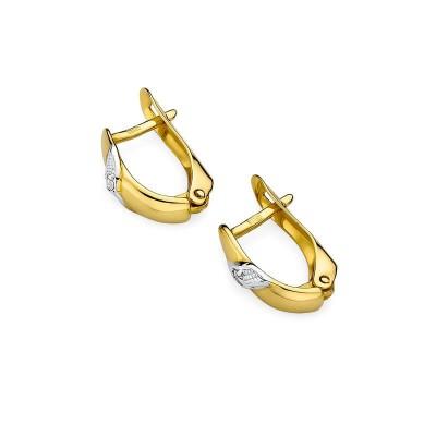 Kolczyki z diamentami - żółte złoto 585