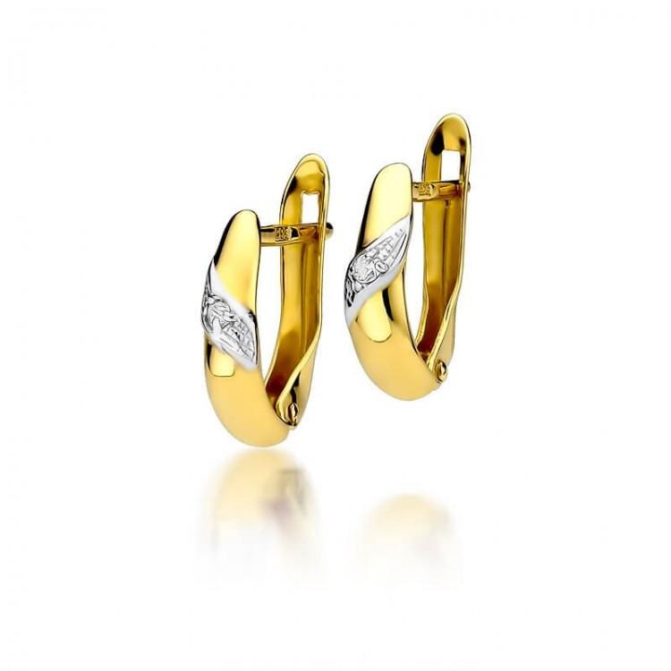 Kolczyki z diamentami - żółte złoto