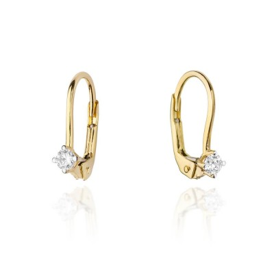 Kolczyki złote z diamentami zatrzask