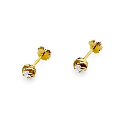Złote kolczyki z diamentami - prezent