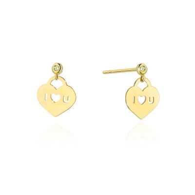 Złote kolczyki z brylantami - serce z napisem