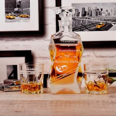 Zdobiony komplet do whisky na rocznicę ślubu